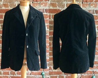 Vintage Womens 'Butterfly' Prestige Sportswear Inc. Velvet Black Cotton Blazer, Size 10