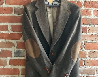 Vintage Men's Stewart County 100% Wool Sport Coat with Elbow Patches, Made in USA, Fathers Day, Mens Gift, 38R 34