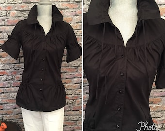 7dd33dd616ecb Vintage Anne Fontaine Black Roushed Short Sleeve Blouse Size small Euro 38