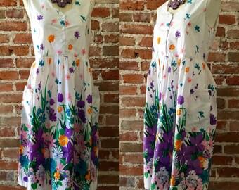 e7d3003a26d4a Vintage 1980 s Large Print Floral Day Dress With Scalloped Neckline