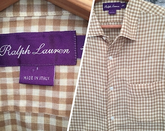 Vintage Mens Ralph Lauren Purple Label Camel And Cream Linen Shirt Size  Large 7240737fb90f7