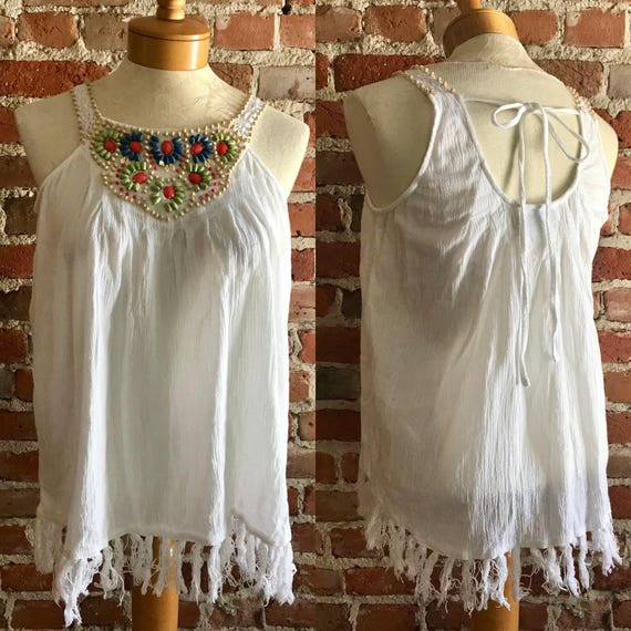 Vintage Fringed & Beaded Lightweight Boho Tank, Fe