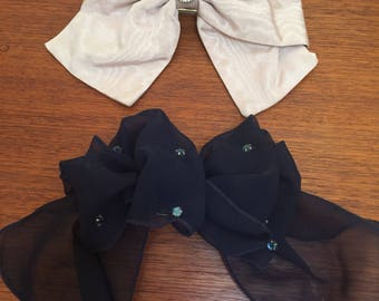Vintage Set Of Four Large Hair Bow Clips Navy  Blush Ivory Lace