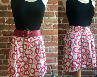 Vintage 90's Juicy Couture 100% Silk Red Circle Print Scallop Hem Button Mini Skirt, Size 4