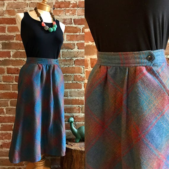 Vintage 1970's Preppy Plaid A-line Wool Skirt, Siz