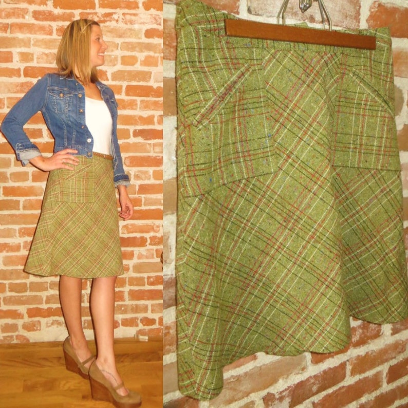 5f5f4eeac Vintage Women s Wool Plaid A-line Skirt Made in Romania
