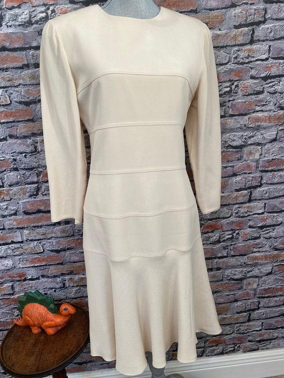 Vintage Arnold Scaasi Bone Silk Fit & Flair Dress… - image 5