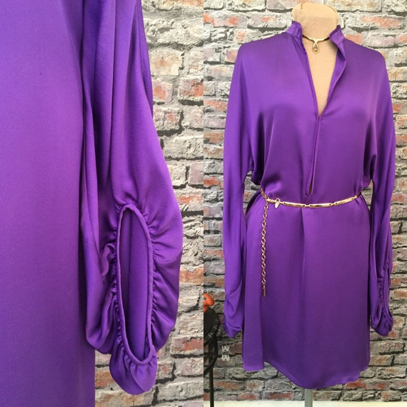 b3d9d4e0a9c0 Vintage Lanvin Grape Silk Dramatic Sleeve Dress Size 10 | Etsy