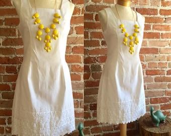 Vintage 1980's Summer White Embroidered Dress