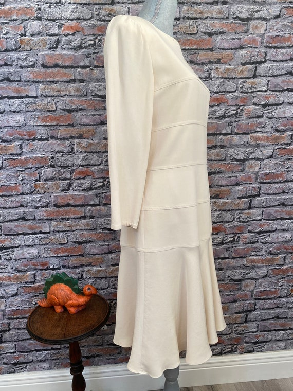 Vintage Arnold Scaasi Bone Silk Fit & Flair Dress… - image 4