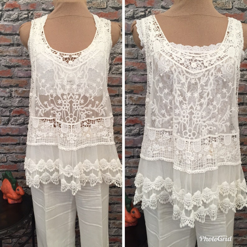 54bc91d43da2c Vintage Cotton Lace And Netting Racer Back Tunic Size