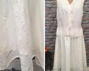 Vintage Ralph Lauren Lauren Cream /Ivory Cotton Eyelet Scallop Hem Skirt   Size 12p