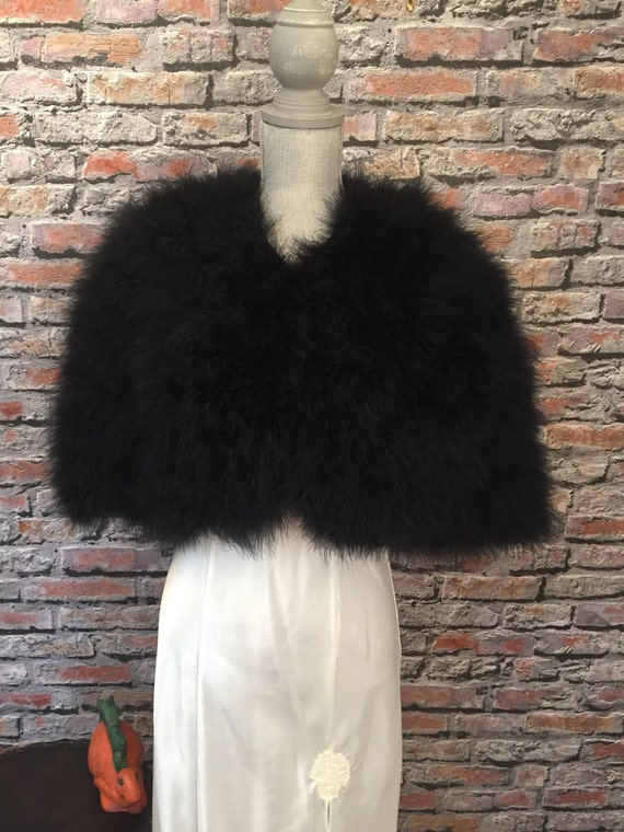 Vintage Delphine Pariente Black Marabou Feather Ca