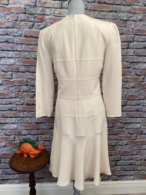 Vintage Arnold Scaasi Bone Silk Fit & Flair Dress… - image 2