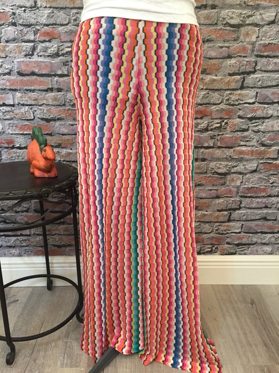 Vintage MISSONI 1980's Wide Bell Bottom Knit Pant… - image 1