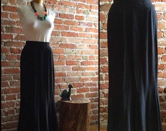 Women's Vintage Maxi Length Black Skirt with Flare Bottom