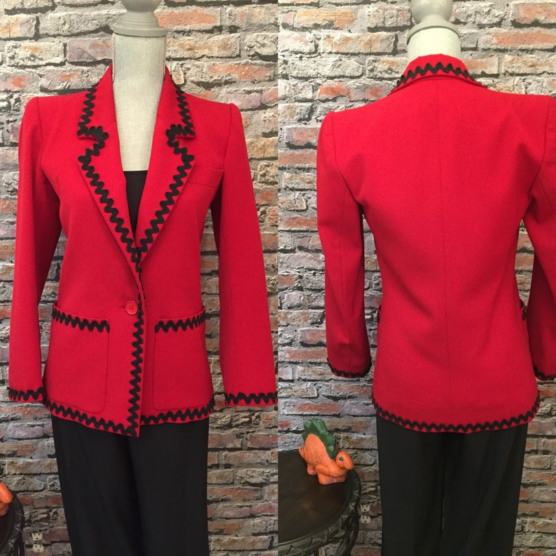73428a969f6 Vintage Saint Laurent Couture Red Fitted Jacket Blazer Made | Etsy