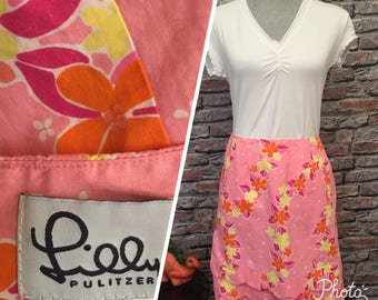 Vintage Lilly Pulitzer Pink Scallop Tiered Hem Skirt   Size Small