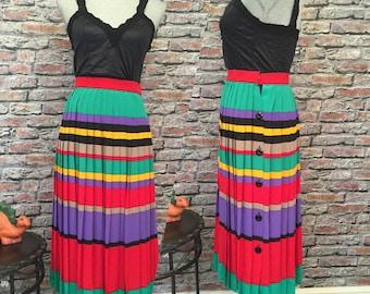 Vintage Knife Pleat, Color Blocked Silk Midi Skirt   Size 2