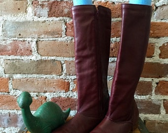Vintage Old Maine Trotters Ox Blood Leather Tall Riding Boots, Size 8.5, Made in the US