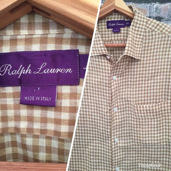Shirt Size Cream Vintage Purple Label Ralph Mens Large And Camel Lauren Linen PZuOXki