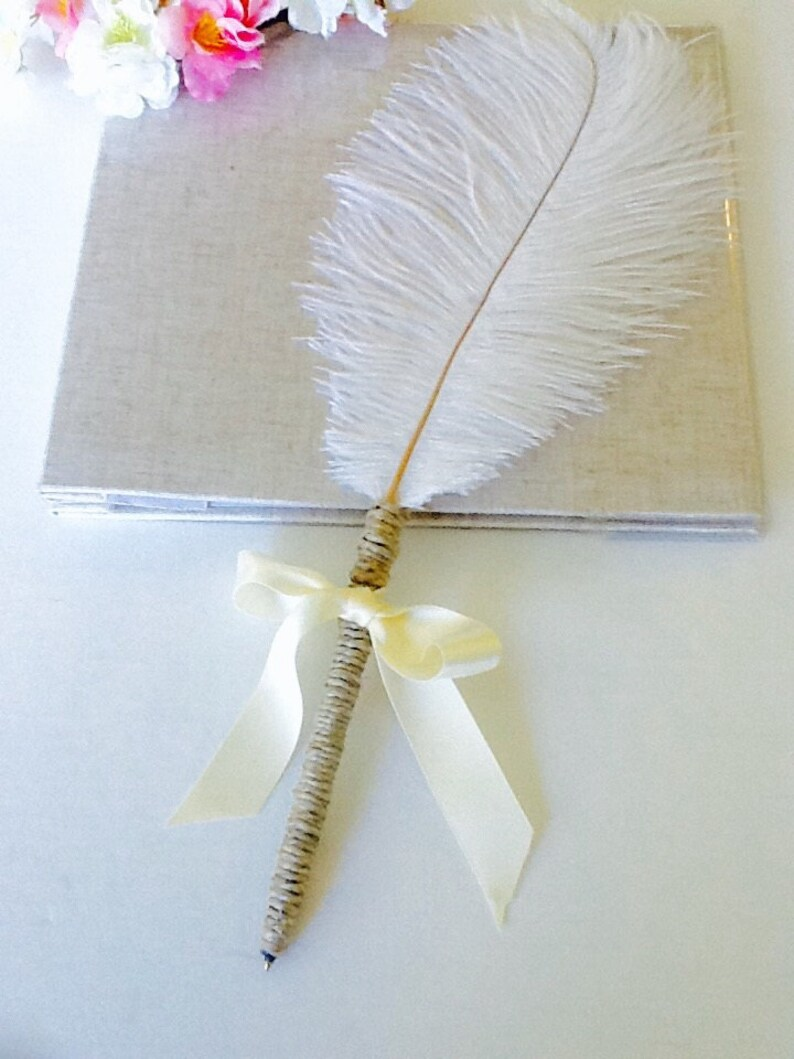 Ostrich Feather PenFeather PenGuestbook penPlumeweddingWedding GuestSign inElegant