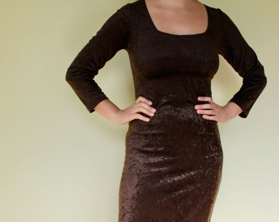 90s Brown Square Neck Crushed Velvet Vintage Dress by Maco of California with Side of Leg Slits. Size Womens S/M. Sexy Stretch, Form Fitting