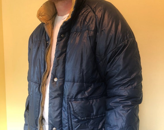 Vintage Navy Puffy Coat with Snaps Classic Navy Blue Lined in Olive. Made in Berkley, California USA.