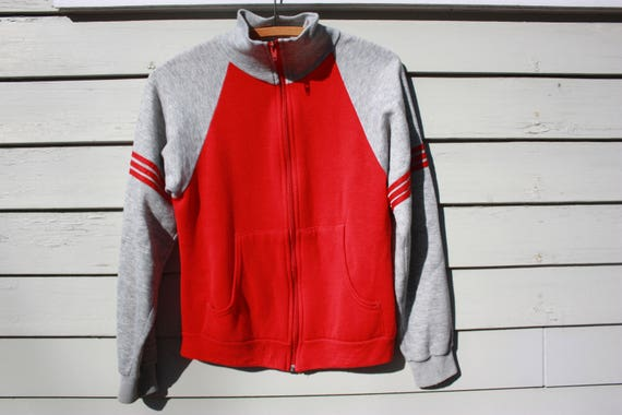 Super Soft Vintage Athletic Zip Up Red and Gray Sweatshirt. Three Stripes Arm Bands on Both Arms