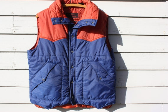 Vintage Two - Tone Navy and Burnt Orange Puffy Vest with Pockets and Long Neck. Snap Buttons