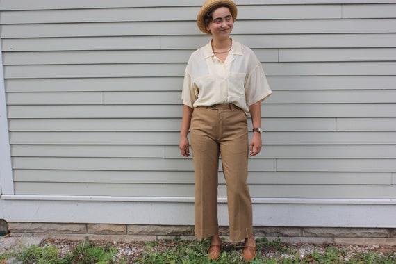 Yves Saint Laurent 100% Wool Tan Trousers