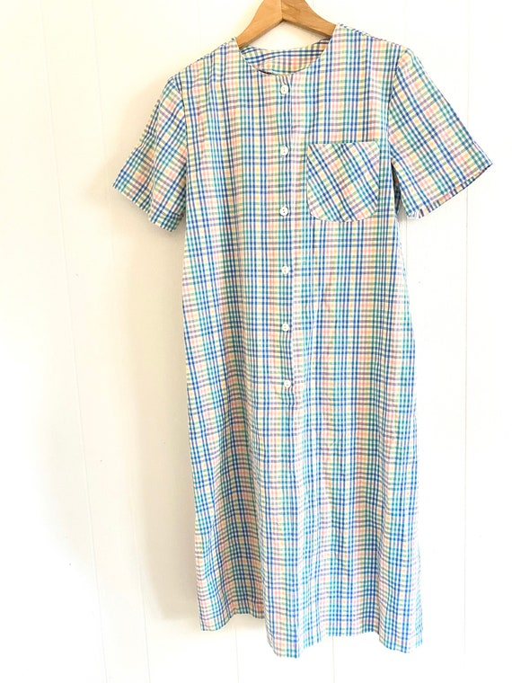 Rainbow Plaid Dress with Button Front. Unisex Smal