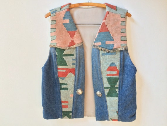 Vintage Handwoven Wool and Denim Southwestern Vest. Attributed to Hester of Santa Fe.