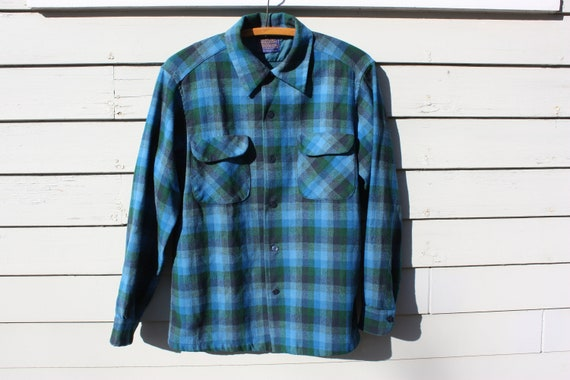 Aquamarine and blue plaid Pendleton wool flannel made in USA