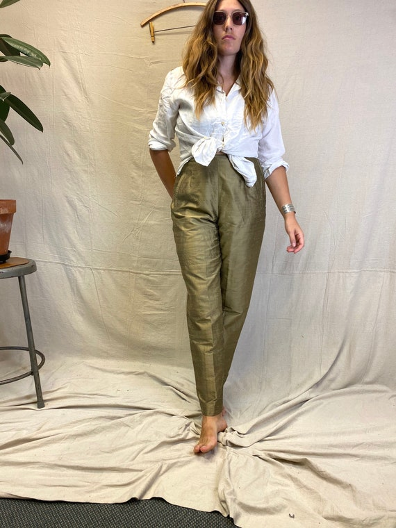 30x30 Gold All Silk High Waisted Pants.