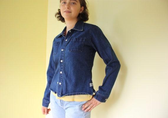 Calvin Klein Dark Denim Shirt / Light Weight Jacket w/ Snap Buttons Size Medium
