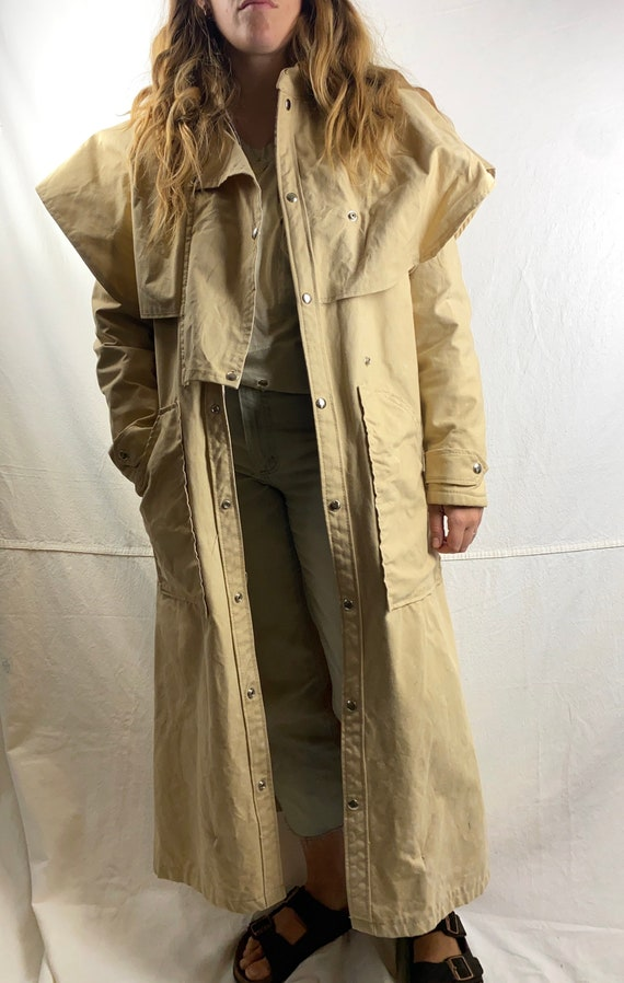 Sun Faded Beige Canvas Vintage Riding Duster Coat.