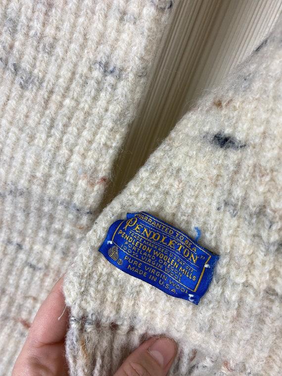 Pendleton Speckled Cream Wool Knit Vintage Unisex… - image 4
