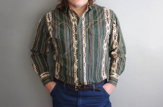 aa441e5c16c Vintage XL vert et Beige pour homme Wrangler sud-ouest Cowboy