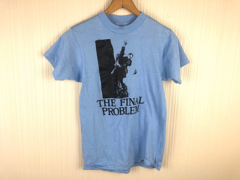 Unisex S 90s The Final Problem Sherlock Holmes Baby Blue Graphic Tee