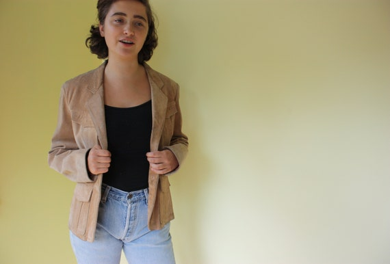 Vintage Beige Suede Blazer / Jacket with Peach Lining by Winlit