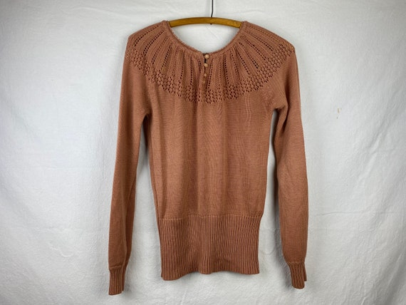 Dusty Pink Loose Knit Vintage Sweater. Unisex S