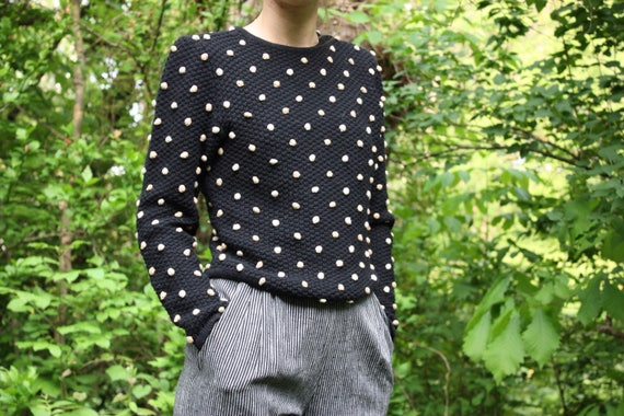 Black Knit Textured Sweater with Tan Raised Knot Polka Dots.