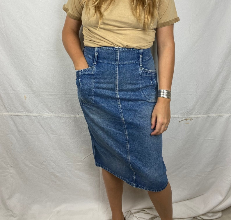 Faded Medium Wash High Waisted Denim Skirt. 32\u201d Waist
