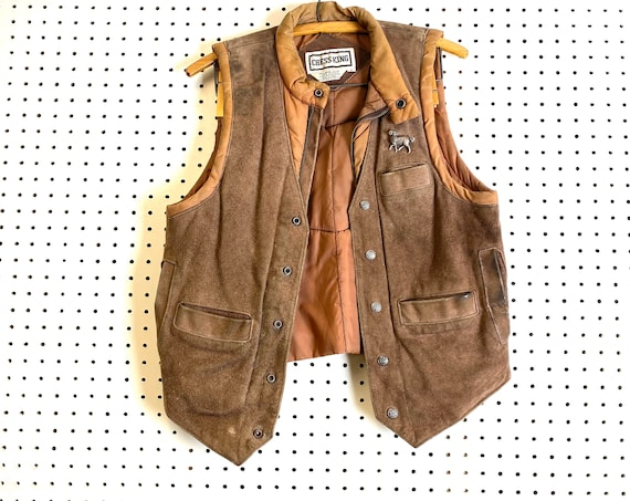 Brown Leather and Nylon Puffer Vintage Vest. Unise