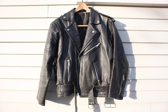Black Leather Vintage Motorcycle Jacket with BMW on zippers. Eagle on Ball Embossed on Shoulders. Bomber Racer. Diagonal Zip Breast Pocket
