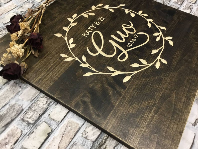 Country Guestbook Wood Sign Wood Guestbook CARVED Wedding Guest Book Alternative Rustic Guestbook Personalized Guestbook Wedding Gift