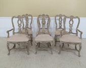 L45135EC Set Of 6 High Quality French Louis XV Carved Dining Chairs