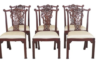 30887EC: Set Of 8 MAITLAND SMITH Chinese Chippendale Mahogany Dining Chairs