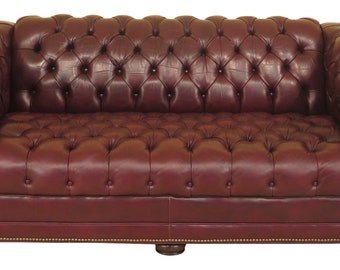 45521EC: English Style Tufted Burgundy Leather Chesterfield Sofa